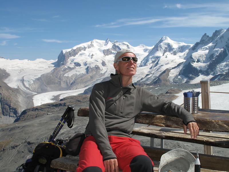 searching for the climbing-route on the Hörnli ridge. ( Matterhorn 4478m. Wallis 2009, Switzerland                                )