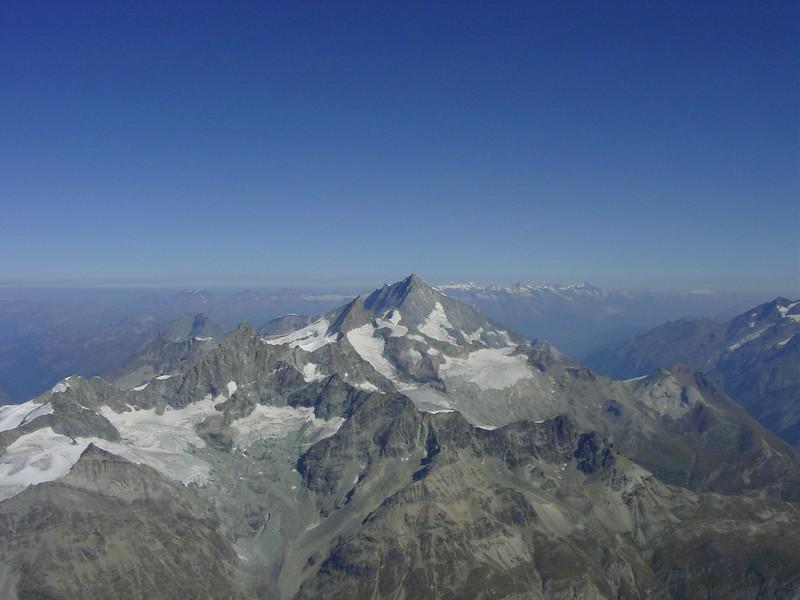 the Weisshorn 4505m. view from the summit of the Matterhorn (Matterhorn 4478m. Wallis 2009, Switzerland)