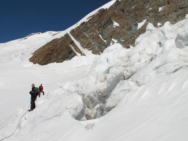 crevasses on the Glacier de Ghiacciaio di Verra ( Pollux 4092m. Wallis 2009, Switzerland/Italy)