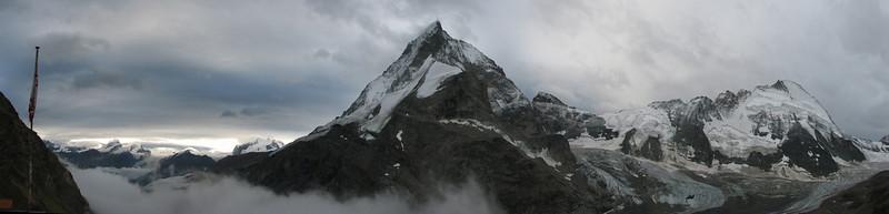 panorama of the North face of the Matterhorn 4477m. and Dent d'Herens 4171m. (Schönbielhorn 3472m. Wallis 2009 Switzerland)