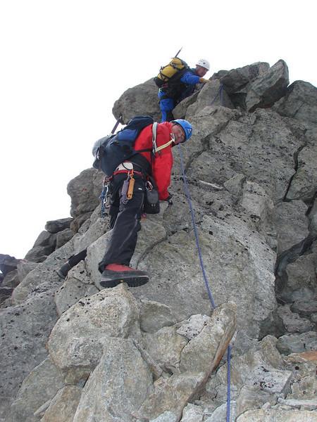 Ridge traverse of the Schönbielhorn 3472m. (Schönbielhorn 3472m. Wallis 2009 Switzerland)