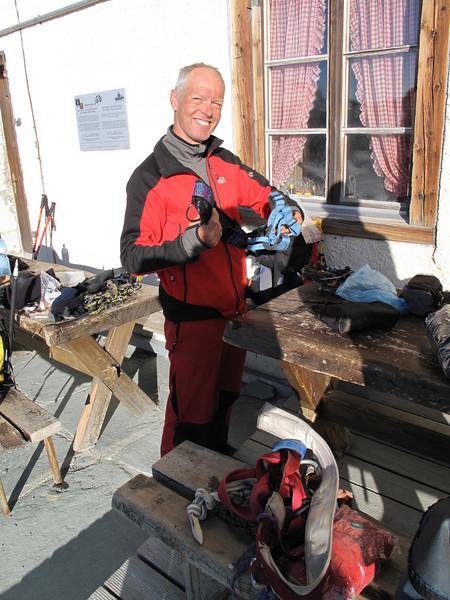 preparations before descent from the Hörnli hut ( Matterhorn 4478m. Wallis 2009, Switzerland                               )