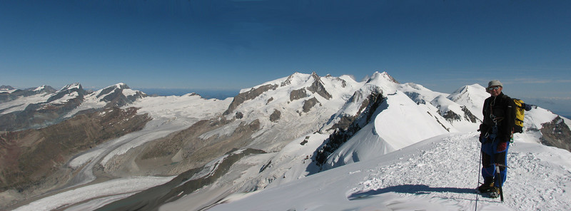panorama view from the West Breithorn (Breithornmassif, Wallis 2009 Switzerland/Italy)