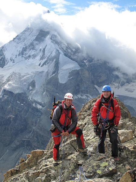 Ridge traverse of the Schönbielhorn 3472m. with the North Face of the Matterhorn 4478m. (Schönbielhorn 3472m. Wallis 2009 Switzerland                                )