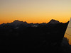 sunset and the liftstation of the Klein Matterhorn 3817m. (Breithornmassif, Wallis 2009 Switzerland                                )