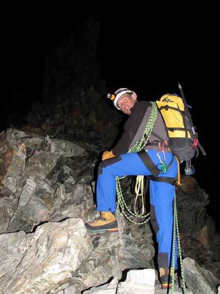 5.15h. starting the ascent of the Hörnli ridge of the Matterhorn ( Matterhorn 4478m. Wallis 2009, Switzerland )