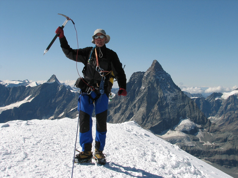 Rogier on the summit of the W. Breithorn 4164m. with in the background the Matterhorn 4478m. (Breithornmassif, Wallis 2009 Switzerland /Italy)
