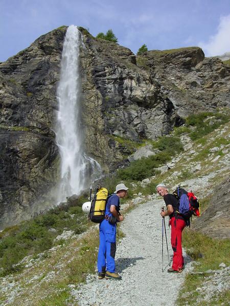 Waterfall of the Zmuttbach on the route Zermatt 1672m. - Schönbielhütte 2684m. (Schönbielhorn 3472m. Wallis 2009 Switzerland)