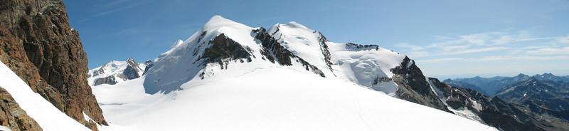 panoramaview of the Zwillinge: Pollux 4092m, Castor 4223m. and Liskamm (Breithornmassif, Wallis 2009 Switzerland/Italy )