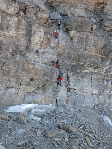 first part of the climbing route ( Matterhorn 4478m. Wallis 2009, Switzerland                                )