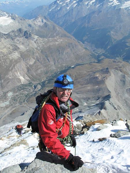 Paul on the roof (Dach) of the Matterhorn (Matterhorn 4478m. Wallis 2009, Switzerland)