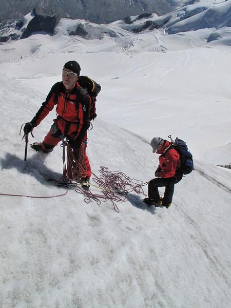 Marijn and Paul on the Alphubel-nase (Alphubel, 4206m. Wallis 2009 Switzerland                             )