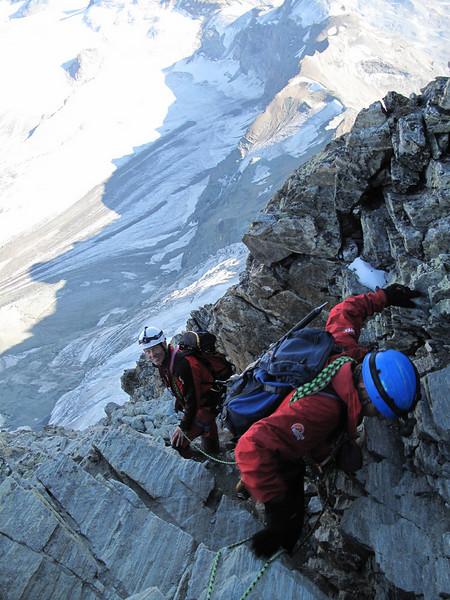 descent of the Matterhorn 4478m. (  Matterhorn 4478m. Wallis 2009, Switzerland                            )