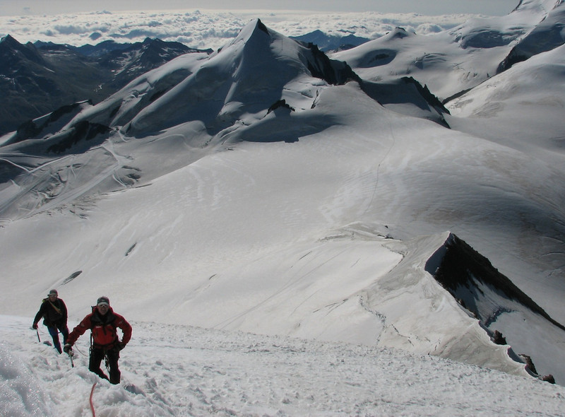 Steep climb on the nase of the Alphubel (Alphubel, 4206m. Wallis 2009 Switzerland)