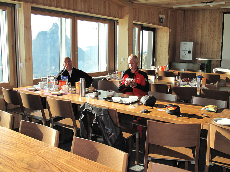 We are sleeping in the liftstation of the Klein Matterhorn 3817m. (Breithornmassif, Wallis 2009 Switzerland                                )