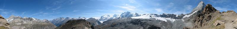 panorama view ( Matterhorn 4478m. Wallis 2009, Switzerland )