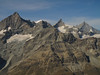 Ober Gabelhorn 4063m. Wellenkuppe 3903m. Zinalrothorn 4221m. and Weisshorn 4505m. ( Matterhorn 4478m. Wallis 2009, Switzerland                                )