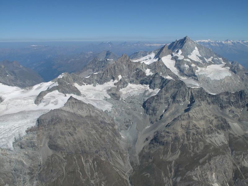 Ober Gabelhorn 4063m., Zinalrothorn 4221m. and Weisshorn 4505m. ( Matterhorn 4478m. Wallis 2009, Switzerland)