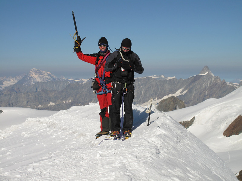 9.45 h. AM on the summit of the Pollux 4092m. (Pollux 4092m. Wallis 2009, Switzerland                               )