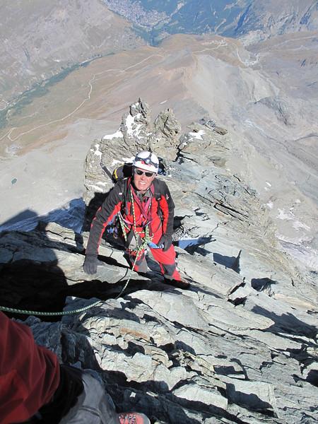 Hörnli ridge of the Matterhorn,(descent of the Matterhorn 4478m.) ( Matterhorn 4478m. Wallis 2009, Switzerland                                )
