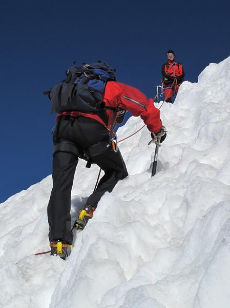 Steep climb on the nase of the Alphubel (Alphubel, 4206m. Wallis 2009 Switzerland                              )