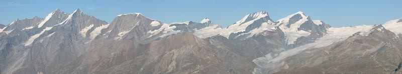 panorama view of the Walliser Alps ( Matterhorn 4478m. Wallis 2009, Switzerland )