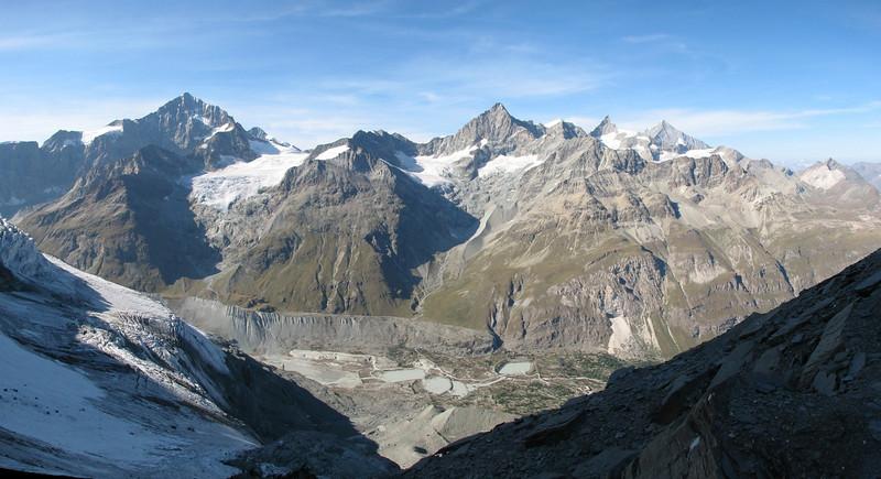 panorama view to the North with Dent Blanche 4357m. Ober Gabelhorn 4064m. Zinalrothorn 4221m. and Weisshorn 4505m. ( Matterhorn 4478m. Wallis 2009, Switzerland )