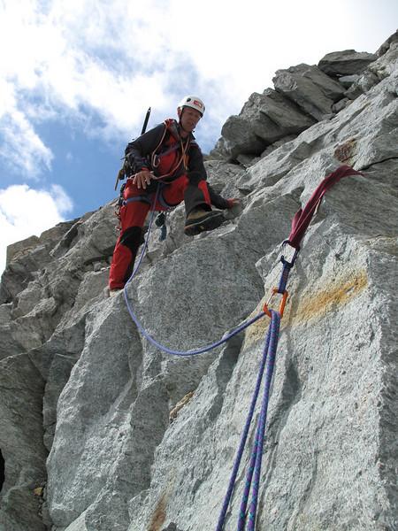 descent of the Schönbielhorn 3472m. (Schönbielhorn 3472m. Wallis 2009 Switzerland                                )