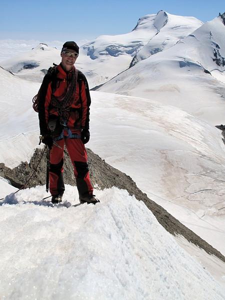 Descending the Alphubel (Alphubel, 4206m. Wallis 2009 Switzerland                                )