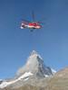 double screwed working-heli near the Matterhorn (Matterhorn 4478m. Wallis 2009,Switzerland)