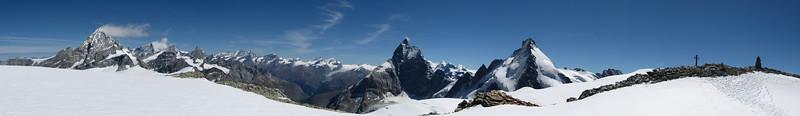 l.t.r. Dent Blanche, Matterhorn, Dent d'Herens, Tête Blanche
