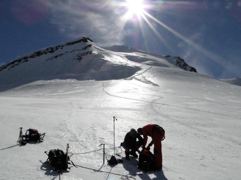 descent route Castor 4226m - Klein Matterhorn 3817m