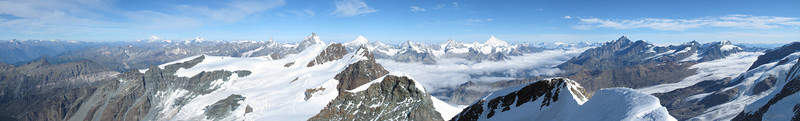 panorama view from the summit Castor 4226m