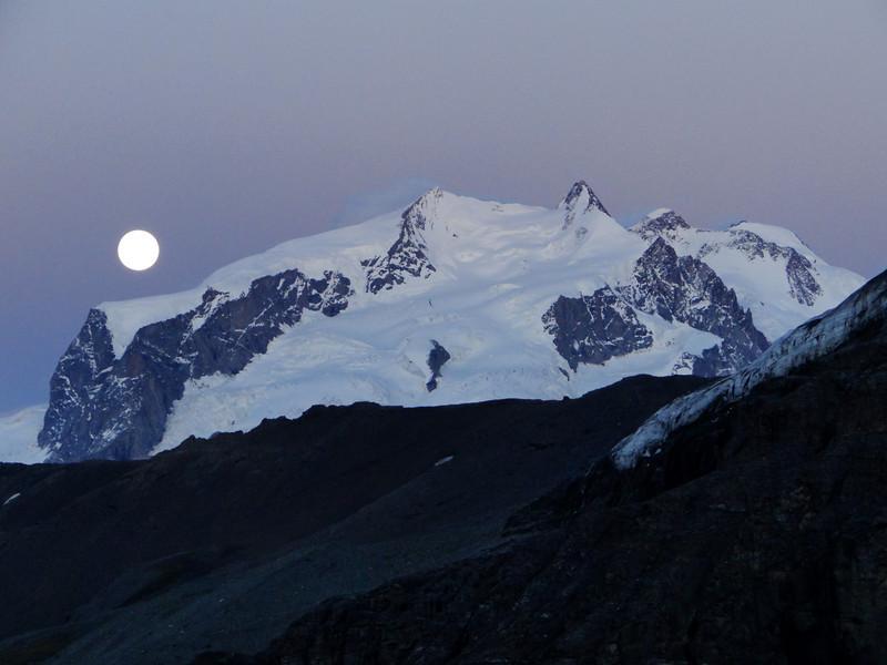 Monte Rosa massif in moonlight