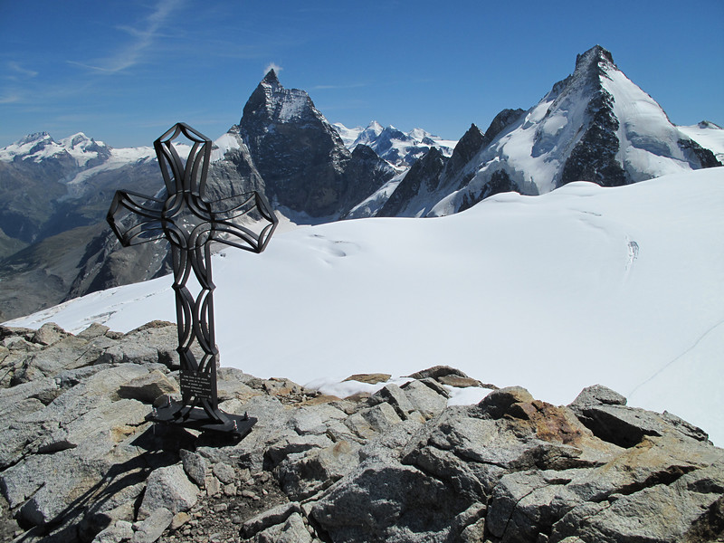 summit Tête Blanche 3707m with Matterhorn and Dent d'Herens