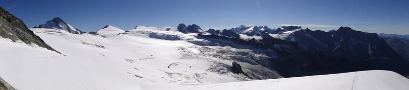 panorama view from the hut, Cabane de la Dent Blanche CAS 3507m at the glacier