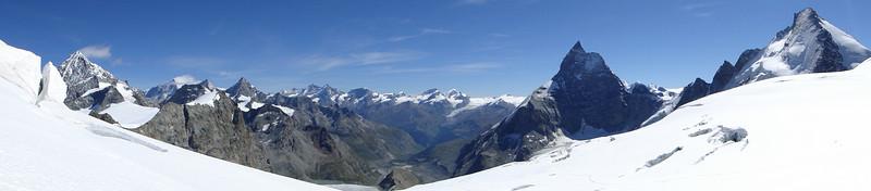 Dent Blanche 4357m, Obergabelhorn 4063m, Matterhorn 4478m and Dent d'Herens 4171m