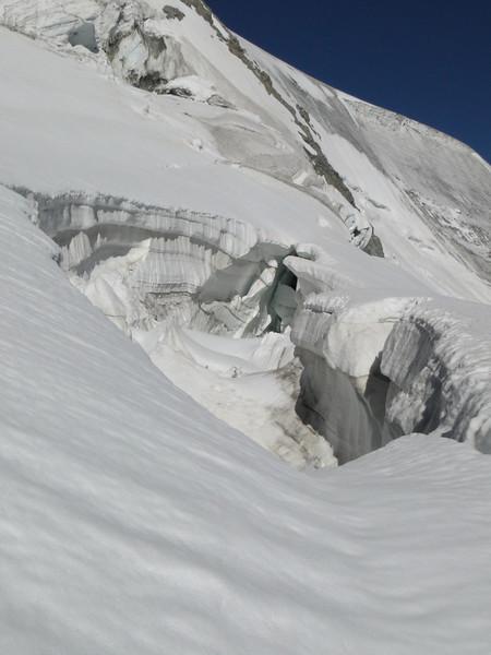 glacier crevasses in the route Cabane de la Dent Blanche CAS 3507m - Schönbielhutte SAC 2694m