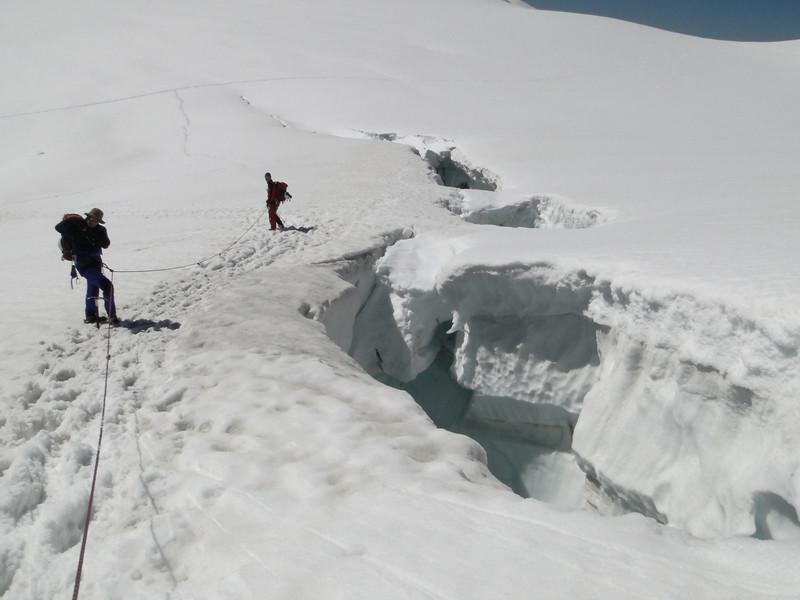 glacier crevasses in the route Cabane de la Dent Blanche CAS 3507m - Schonbielhutte SAC 2694m