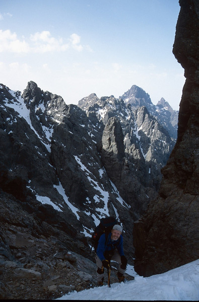 In the background; the route via Bocca Minuta (snowfield left) (GR20  Corsica, France 2003)