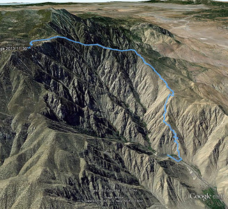 This 3-D image shows our route from the track I recorded using GPS.  We started from the top parking lot of the Palm Springs Tram and climbed up the ridge on the north side of the road to the tram.