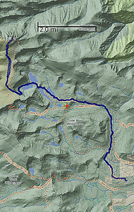 I use an Android app called Backcountry Navigator to record tracks of my treks.  This is a snapshot of the route we took to Cottonwood Lakes, up Old Army Pass, and then over to Mount Langley.