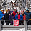 Ouray 2012-70 By this time we'd lost Saif, but the rest of us posed on the bridge. Jason, Court, Peter, Leah, John, Christina, Vince, and Ross.