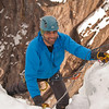 Ouray 2012-36 - Saif finishing Whitt's World (WI4) after starting out on Tangled Up in Blue (WI4)
