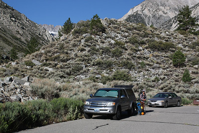 The morning we were preparing to leave from the Big Pine Creek trailhead.  You can see the Palisade Crest up the South Fork canyon.  Our goal is Middle Palisade, about 1 mile to the left of Palisade Crest.