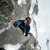 Ben reaching the top of pitch one (Photo credit Dan Joll)