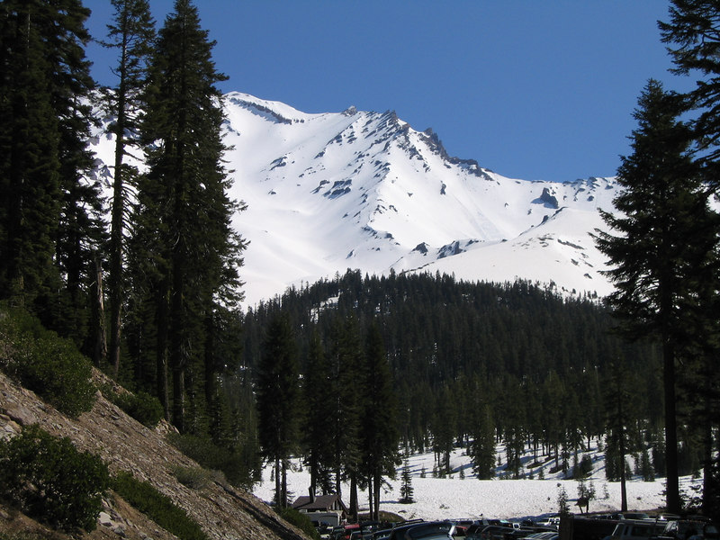 View of Shasta from the Bunny Flat trailhead.<br /> The summit is behind and cannot be seen from this angle