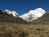 former basecamp of the Alpamayo 4200m with Quitaraju >6000m and Nev. Santa Cruz 6241m. (Peru 2009, Jancarurish 4250m. Cordillera Blanca)