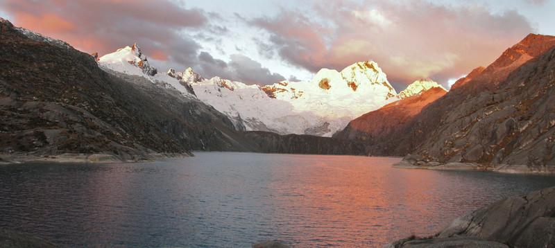 panorama in the East of Lake Cullicocha 4628m and Nevados Sante Cruz 6241m. (Peru 2009, Lake Cullicocha 4628m. Cordillera Blanca)