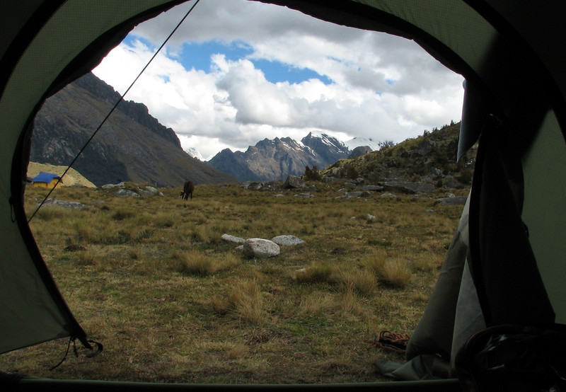 view from the tent (Peru 2009,  Taullipampa 4250m. Cordillera Blanca)